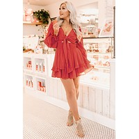 Whisper It Ruffle Dress (Red)