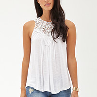 LOVE 21 Slub Knit Crochet Tank
