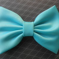 Blue Radiance Satin Hair Bow Blue GirlsHair by TitasHidingPlace