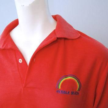Vintage Pebble Beach Rainbow Polo Shirt Pink Golf Shirt with Embroidered Rainbow Soft,