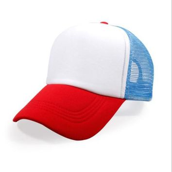 Trendy Winter Jacket Stranger Things Dustin HAT RED WHITE BLUE Trucker Baseball Mesh Cap Adjustable Hat Costumes Cosplay AT_92_12