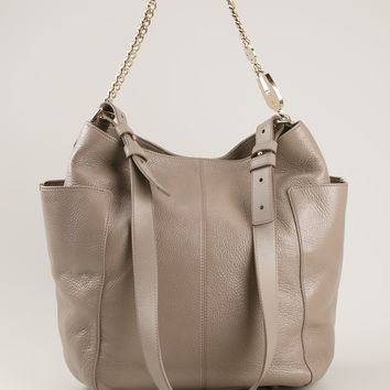JIMMY CHOO Anna Leather Hobo Handbag
