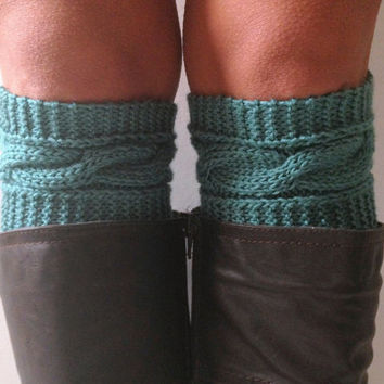 Teal Boot Liners Boot Cuffs Handknit Blue Cabled Boot Toppers