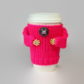 Girlfriend gift. Valentine's coffee cozy. Hot pink. Girly skull cup sleeve. Funny coffee. Mug sweater. Wife gift. Gift for her Coworker gift