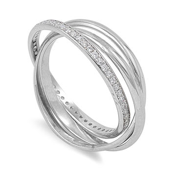 925 Sterling Silver CZ Set of 3 Puzzle Promise Ring 2MM