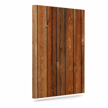 "Susan Sanders ""Rustic Wood Wall"" Nature Brown Canvas Art"