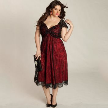 Women Plus Size Dress Floral Lace Sweetheart V Neck Cap Sleeve Midi Elegant Evening Party Wear