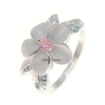 STERLING SILVER 925 HAWAIIAN 12MM PLUMERIA FLOWER 4 MAILE LEAF PINK CZ RING 3-9