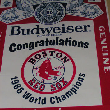 Extremely Rare Misprinted Anheuser-Busch 1986 World Series Winner Poster New York Mets Boston Red Sox Amazing Collectible for Baseball Fan!!