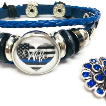 Thin Blue Line Heart Flag Wife Snap Blue Leather Bracelet  With Bonus Extra 18MM - 20MM Charm New Item