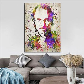 HD Printed Steve Jobs Canvas Painting Inspirational pictures great man Poster Modern Art Canvas Prints Wall Picture office decor