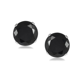 Platinum Over Sterling Silver 2Ct Black Cubic Zirconia Round VS1 Studs