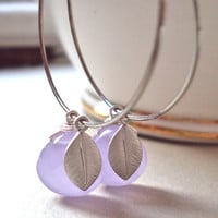 Purple Silver hoop earrings with silver leaves - quartz beads