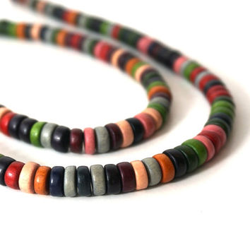 Colorful Wood Beads, 8mm x 4mm Rondelle, Earthy Rainbow Color Mix, eco-friendly wooden beads (743R)