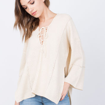 Lace-Up Sweater Top