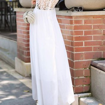 White Patchwork Lace Hollow-out Double-deck Open Back Maxi Dress