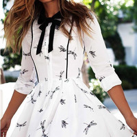 White Floral Print Bow Collar Half Sleeve Skater Dress