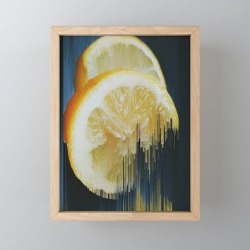 Lemony Good Glitch Framed Mini Art Print by duckyb