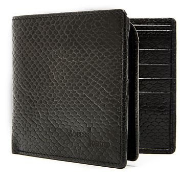 Genuine Leather Bifold Wallet With Flip-Up Card & ID Slot