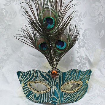 Green Gold Peacock Brocade and Leather Masquerade Mask with Peacock Feathers