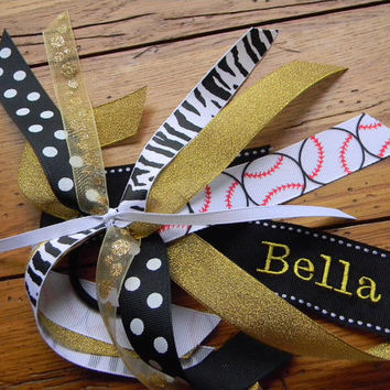 Custom Personalized Ponytail Streamers / cheer bow, ANY colors, with or without sports ribbon