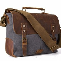 Vintage Canvas + Leather Satchel