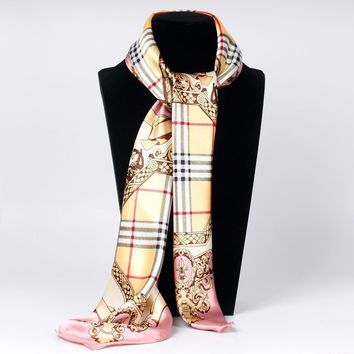 2018 Fashion Women Scarf Luxury Brand Printed Hijab Silk Satin Shawl Scarfs Foulard Square Head Scarves Wraps Bandana Women