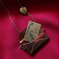 PS I Love You Letter in Envelope Necklace by BrooklynCharm on Etsy