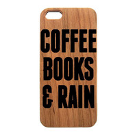Coffee Books & Rain Wood Case iPhone Phone Cases printed for iPhone 6,7