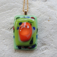 fused glass necklace and earrings,glass jewelry set,green orange fused glass set,green orange glass necklace,green orange glass earrings