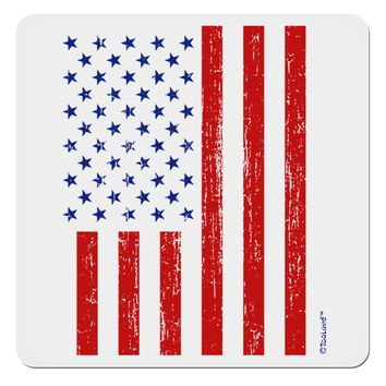 """Red and Blue Stamp Style American Flag - Distressed 4x4"""" Square Sticker by TooLoud"""