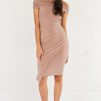 AKIRA Off The Shoulder Ruched Dress in Mauve