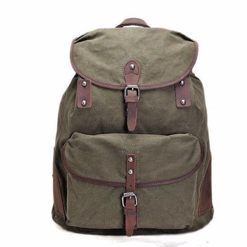 Handmade Waxed Canvas Backpack, Rucksack, School Backpack, Travel Backpack