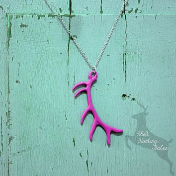 Elk Antler Necklace Fuchsia Pink / Antler Necklaces