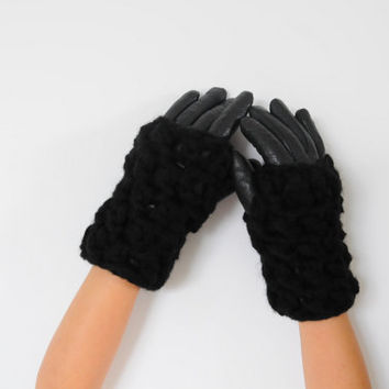 Black Chunky Wrist Warmers, Over Gloves, Crochet Fingerless Gloves