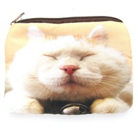 White Kitty Cat Tabby Face Digital Photo Print Animal Coin Purse Make Up Bag