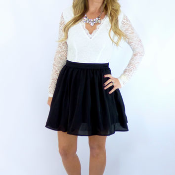 White & Black Party Dress