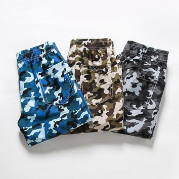 Boys Camouflage Shorts Summer Surf Beach Shorts Cotton Trousers Kids Cool Pants Children Loose Sports Camo Shorts Sweatpants