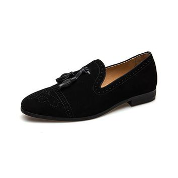 Handmade Leather Tassel Loafers Spring and Autumn