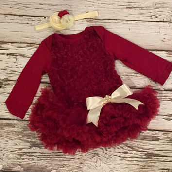 Baby girl dress. Tutu dress. Petti skirt. Baby ruffle dress. dress. Red baby dress.
