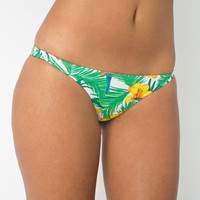 Paradise Print Nylon Tricot Ruched Back Brazilian Bottom