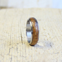 Wood and stainless steel ring rustic unisex wood ring