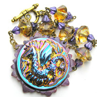 Dragon Pendant Necklace, Metallic Glass Pendant, Game of Thrones, Beaded Chain, Purple, Yellow, Colorful Jewelry