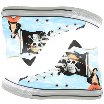 Luffy one piece painted shoes, custom shoes by natalshoes