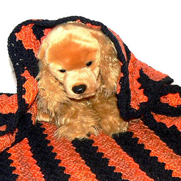 Crochet Puppy Dog Blanket *Halloween* OOAK baby blanket, dog blanket chihuahua, crochet, autumn, black,orange, cotton