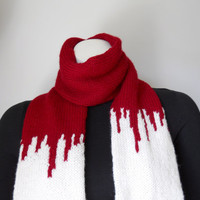 Zombie Apocalypse Scarf, Hand Knit Red and Ivory Scarf, Vampire Tourniquet Scarf, Halloween Costume, Vampire Victim, Zombie Costume