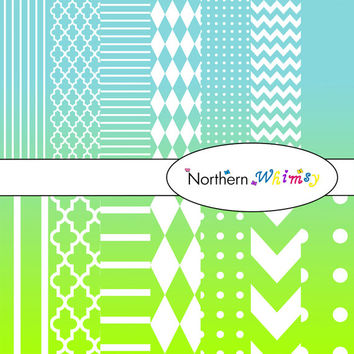 Digital Scrapbooking Paper Background Set – Aqua Blue and Lime Green Ombre - stripe, chevron, polka dot, stripe, harlequin, & quatrefoil