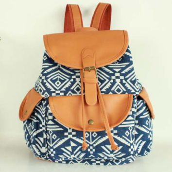 Blue Aztec Travel Bag Canvas Lightweight Backpack