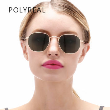 POLYREAL Fashion Vintage Polarized Hexagonal Sunglasses Men Driver Brand Designer Women Mirror Shades Sun Glasses Unisex UV400