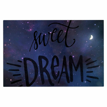 "Robin Dickinson ""Sweet Dream"" Black Purple Galaxy Decorative Door Mat"